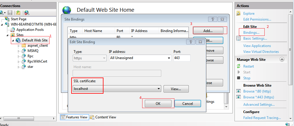 wcfstorm - Working with IIS and SSL