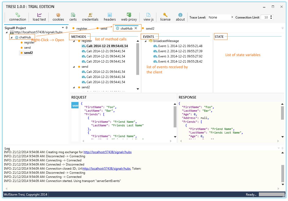 Test Client for SignalR Hubs : dotnet